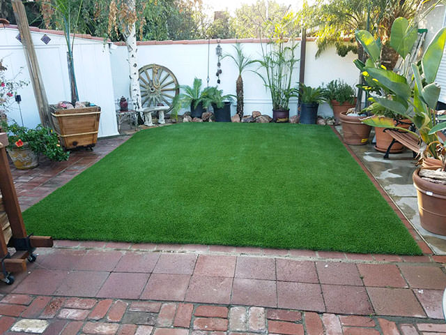backyard pond with artificial turf